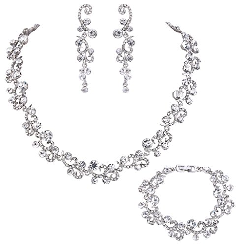 EVER FAITH Women's Austrian Crystal Wedding Flower Wave Necklace Earrings Bracelet Set Clear Silver-Tone
