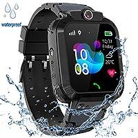 GPS Niños Impermeable Smartwatch, Reloj Inteligente Smart Watch Telefono con GPS Rastreador Conversación Bidireccional Llamada por Voz Chat SOS Cámara Despertador Juego para Niños Niña 3-12 Años,Negro