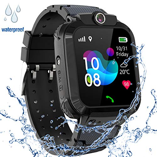 GPS Smartwatch Impermeabile per Ragazzi Ragazze, Orologio Intelligente Telefono con GPS Locator Chat SOS Vocale Camera Math Game Anti-lost Bambini Bracciale Regalo Compleanno per iOS Android,GPS Nero