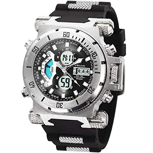 SIBOSUN Sport Watch Digital Wrist Large Face Waterproof Military LED Stopwatch Men Japanese Quartz Alarm Date Silver
