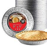 Stock Your Home 9 Inch Deep Dish Aluminum Foil Pie Pans (50 Count) - Disposable & Recyclable Large Pie Pan - Pie Plates for Bakeries, Cafes, Restaurants - Durable Large Foil Pans for Extra Pie Filling