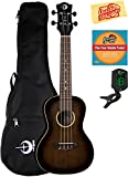 Luna Uke Artist Vintage Distressed Concert Ukulele Bundle with Gig Bag, Tuner, Austin Bazaar Instructional DVD, and Polishing Cloth