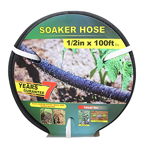 Soaker Hose -Garden Hose 100 FT with 1/2'' Diameter Interface- Saves 70% water Great for gardens/flower beds/Seedling (100 FT)
