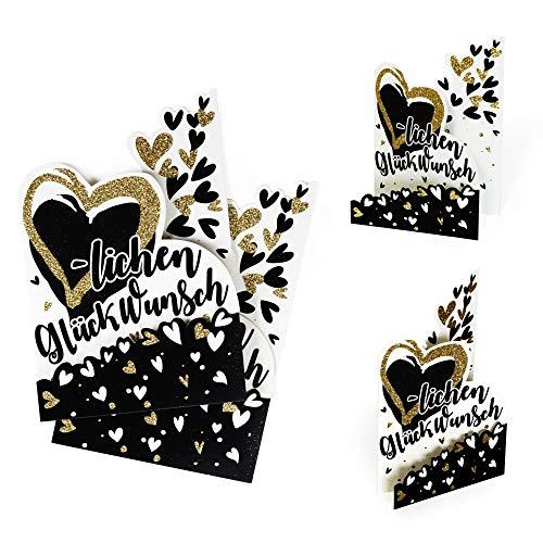 Uppsättning av 2 födelsedagskort ? Grattis | Kort födelsedag med hjärta av glitter guld | Kupol, gratulationskort för många tillfällen, 3D-effekt, X034