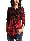Aleumdr Donna T Shirt Camicetta con Bottoni Blusa Manica 3/4 Floreale Maglietta Maniche Lunghe Donna Elegante Tunica Donna- S(EU36-38)