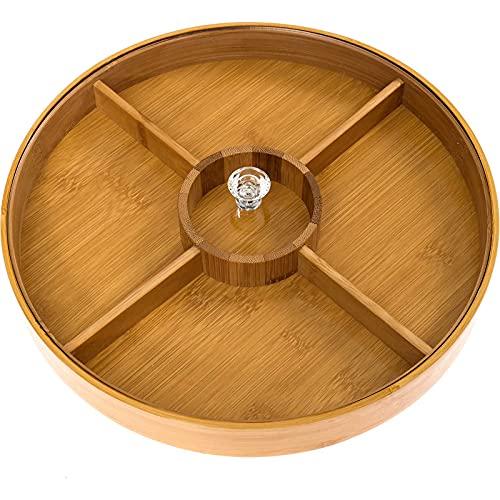NSWDC Bandeja para Servir Dividida, bambú con Tapa de Vidrio acrílico, Fuente para Fiestas de Aperitivos, Servir Platos, Fuentes para Servir, Bandeja para Chips y Salsas