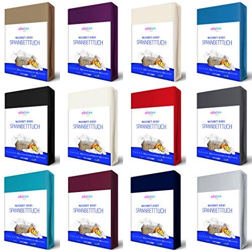 EllaTex Premium Stretch Spannbettlaken 200x220-220x240cm für WASSERBETTEN/BOXSPRINGBETTEN + 40 cm Steghöhe, ca. 200 g/m², in Farbe: Anthrazit-Grau