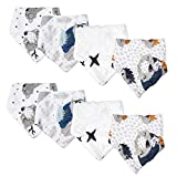 Viviland Baby Bandana Drool Bibs 8 Pack, 8-Layer Muslin Cotton Bibs, Super Absorbent, Great Gift for 0-24 Month,Raccoon & Fox