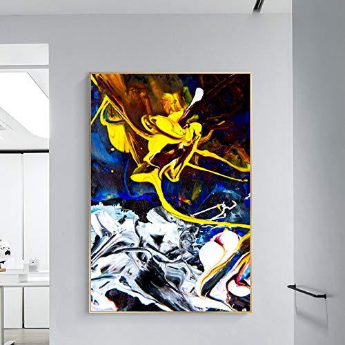 Arte la pared la lona Pintura abstracta moderna sobre lienzo Carteles e impresiones Arte la pared Pintura Color magnífico Cuadro abstracto decor la sala estar 30x40cm / 11.8 'x15.7' Marco interno