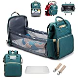 WAQIA singslife 3 in 1 Travel Bassinet Foldable Baby Bed Portable Diaper Changing Station Mummy Bag Backpack Folding Crib Diaper Bag with Bed Portable Bassinets for Babies (Green)