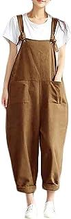 Yeirui Women Linen Cotton Summer Color Solid Plus Size Pants Loose Harem Jumpsuit Romper