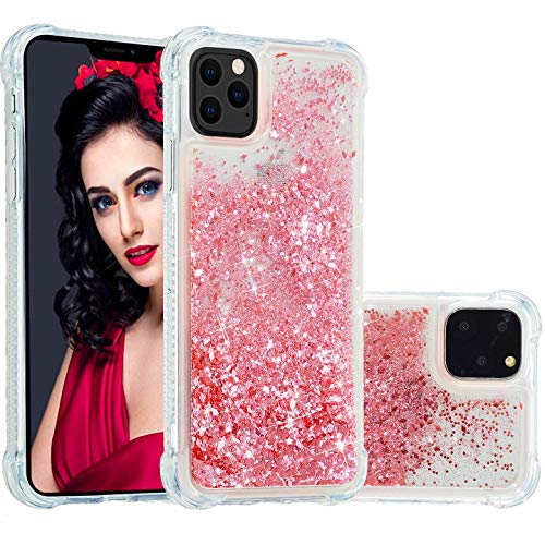Vepbk - Funda para iPhone 12 / iPhone 12 Pro (6,1), funda para teléfono móvil con purpurina líquida, silicona TPU, transparente, resistente a los golpes, carcasa de silicona, brillante, rosa