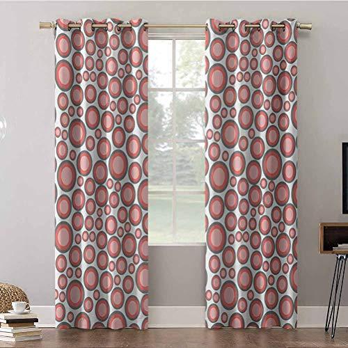 Cortinas de dormitorio, 42 x 72 con aislamiento térmico, cortinas opacas, patrón abstracto con círculos de diferentes tamaños y colores, cortinas opacas para dormitorio de niños (2 paneles)