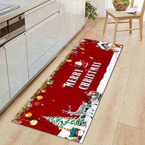 Ucradle Weihnachtsteppich, Weihnachtsmann-Teppich, langlebige Weihnachtsfußmatte Elch und Weihnachtsbaum Muster Willkommen Teppich für Schlafzimmer Wohnzimmer Indoor Weihnachtsferien Dekor, 1,3x4 Fuß