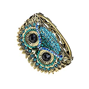 Alilang Owl Face Bracelet Antique Bird Crystal Rhinestone Costume Cuff Bangle