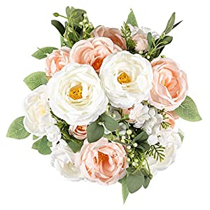 Veryhome 2 Packs Silk Peony Artificial Flowers Fake Rose Bouquet, Floral Arrangement for Wedding Home Decoration