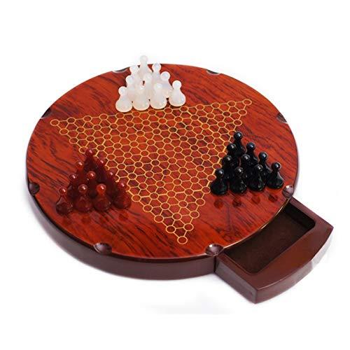 HHOSBFSS 28.5 * 3.5cm Damas de ónix Multicolor/Conjunto de ajedrez, Tablero de ajedrez Redondo de Madera Hermoso, Juegos de Interior de la Familia clásica. (Color : Circular Agate)