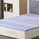 LAGRIMA 2 Inch 2in 7 Zones Lavender Infused Memory Foam Mattress Topper with Pattern-Queen Size Bed Topper for...