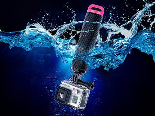 Waterproof Floating Hand Grip Compatible with GoPro Camera Hero 5 Session Black Silver Hero 6 5 4 3 2 1 Handler & Handle Mount Accessories Kit for Water Sport and Action Cameras (Rose Red)