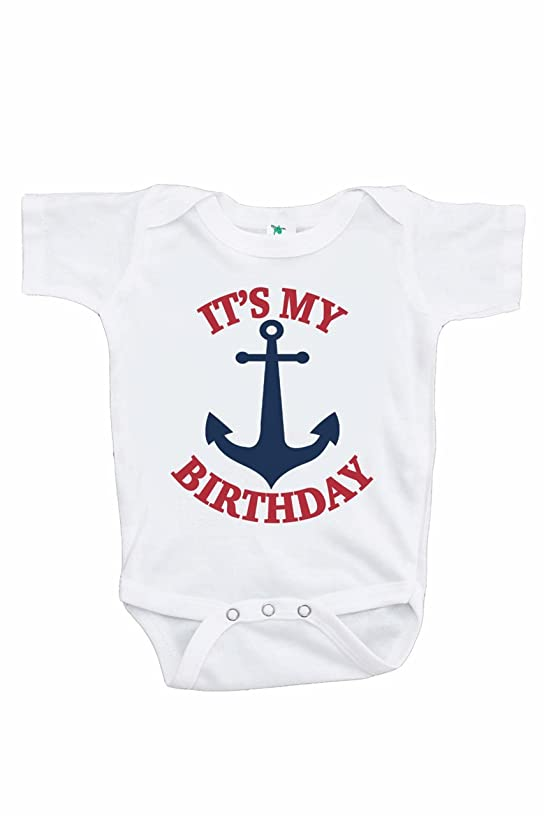 7 ate 9 Apparel Kids Nautical Anchor Birthday Onepiece