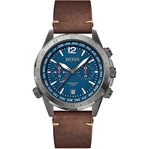 Hugo Boss heren Multi Dial Quartz horloge met lederen armband 1513773