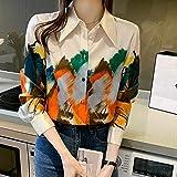 A-HXTM Camisa Moda Mujer Blusas de Gasa Camisas con Estampado de Aceite Primavera Verano Blusa Tops de Manga Larga Las Camisas se aplican al Trabajo Negocios o Uso Diario etc.-The_Picture_Color_L