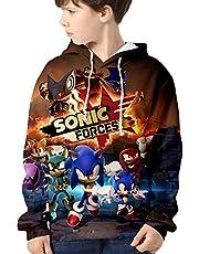 HAOSHENG Niño Ropa Sonic The Hedgehog Sudadera con Capucha Impreso con Lindos Personajes Casual Moda Jersey de Manga Largapara Niñas