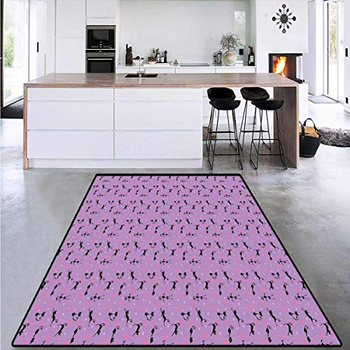 Purple, Girls Bedroom Rug, Unlucky Black Cat with Heart Filled Backdrop Valentines Day Animal Fun, for Kids Room 4' x 6' Levander Pink Black