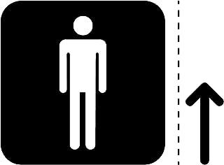 男性トイレ案内マーク(矢印付き)のカッティングステッカー・シール 光沢タイプ・防水・耐水・屋外耐候3~4年【クリックポストにて発送】 (黒, 150)