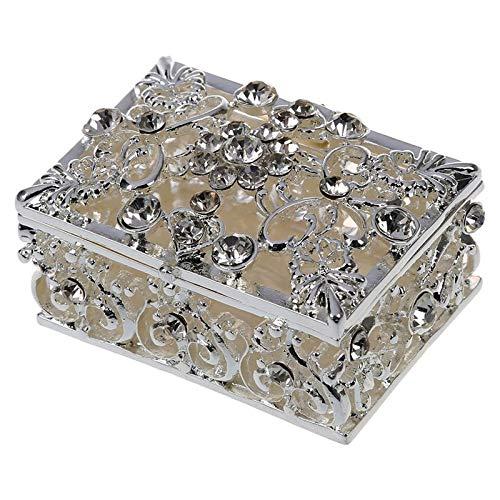 Neaer Joyero pequeño con diamantes de imitación adornados huecos, caja de regalo de joyería plateada (color plateado)