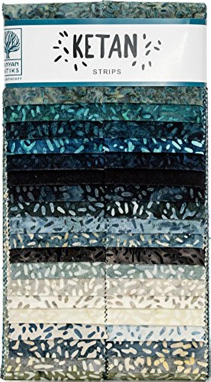 Banyan Batiks Ketan Mint Mocha Strips 40 2.5-inch Strips Jelly Roll Northcott