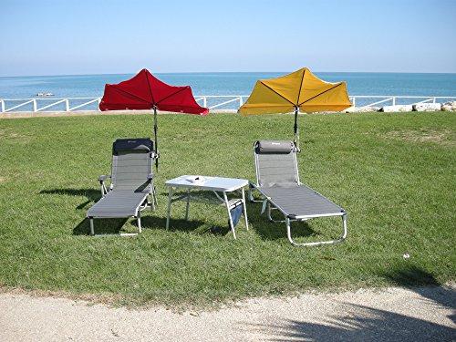 GULIANOVA zonnescherm, reizen, Holly Relax, paraplu, maïsgeel en armleuningen, ligbed met verstelbaar nekkussen, armleuningen, stabielo, aluminium, kleur: titanium, verdrijving, Holly