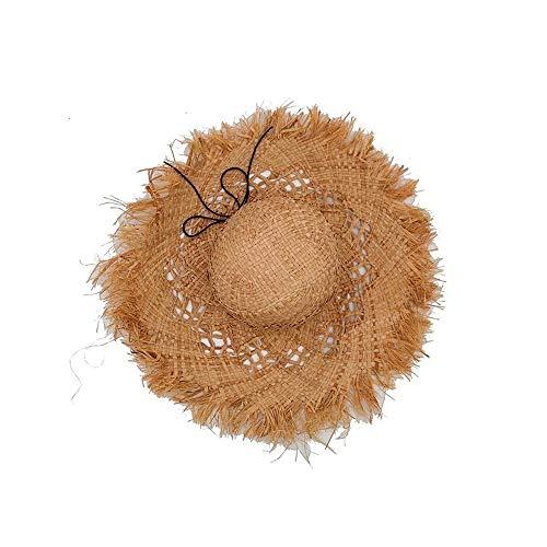 LTH-GD Sombrero de invierno para verano, sombrero de sol, sombrero de paja para el sol, borde sin procesar, sombrero de filipino, (color: color de la imagen, tamaño: 56-58 cm)