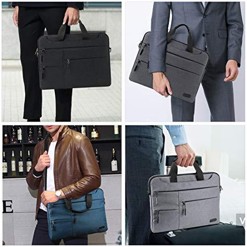 NUBILY Laptoptasche Herren Aktentasche Schultertasche 14 Zoll Business Arbeitstasche wasserdichte Umhängetasche Notebooktasche für Frauen Männer Dunkelgrau