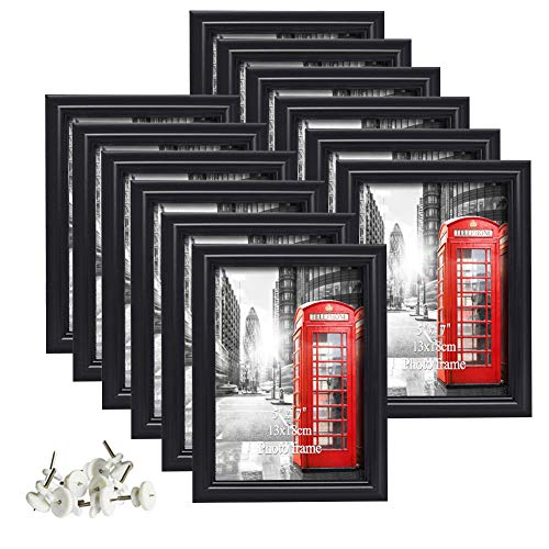 Calenzana 5x7 Picture Frames Black Photo Frame Set, Wall Hanging and Tabletop, 12 Pack