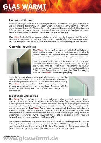 Infrarotheizung Infrarot 450 Watt Metall-Premium Weiss Glaswärmt Heizung Bild 2*