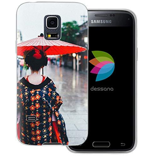 dessana Geisha Japan transparante beschermhoes mobiele telefoon case cover tas voor Samsung Galaxy S Note, Samsung Galaxy S5 mini, Geisha in Kimono
