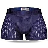 MODCHOK Hombre Calzoncillos de Terapia Magnética Bóxers Transpirable Fresco Azul Marino XL(EU)