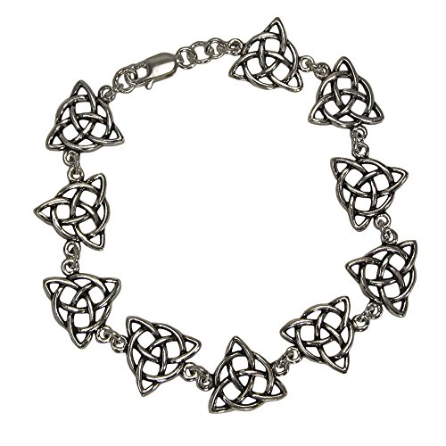 Sterling Silver Triquetra Trinity Knot Celtic Bracelet, 6 inches