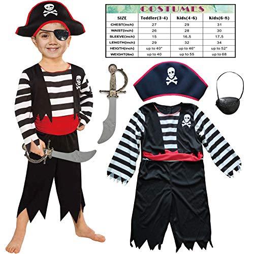 Sincere Party Kinder Piraten Jungen Kostüm mit Hut, Schwert, Augenklappe 3-4 Jahre