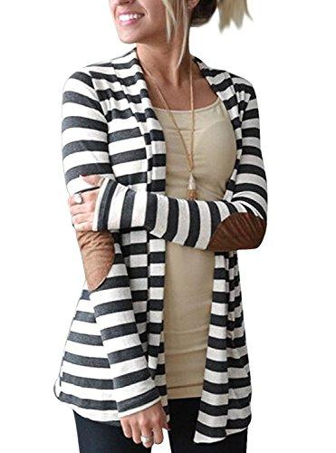 Myobe Women's Cardigan Elbow Patch Shawl Collar Summer Striped Open Front Cardigan Sweaters Coat Outwear …