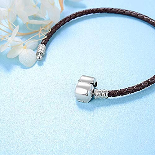 Silver Bead Charms Brown Leather Rope Weave Snake Shape Chain -19Cm 925 Sterling Silver Fine Pendants Bracelet Jewelry Making Girls Teens Diy Best Gift Fit Original Charm