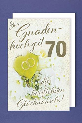 Gnadenhochzeit 70 Grußkarte Blumenstrauß Ringkissen Ringe 16x11cm