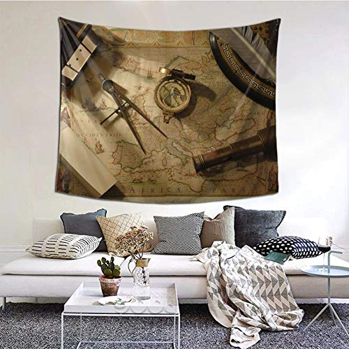 LASWEGA Tapestry Travel Map and Compass Tapestries Wall Hanging Wall Art Hippie Art Bedroom Living Room Dorm Throw Bedspread Blanket (51.2 X 59.1 inches)