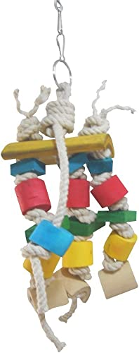KSK Wooden Parrot Cubes Blocks Chewing Toys Parrot Knots Block Chew Toy Bells Bird Wood Hanging Toys Medium Large Bir...