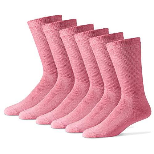 Diabetic Crew Socks for Women - 12 Pack - Pink - Size 9-11