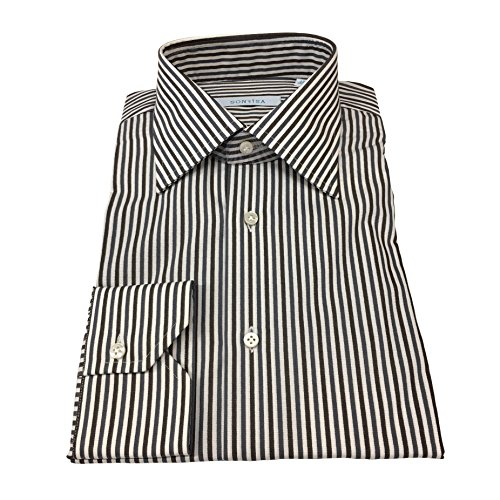 SONRISA Camicia Uomo Righe Moro/Grigio 100% Cotone (42-16 1/2)