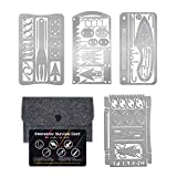 PSKOOK Survival Multitool Card Emergency Camping Tool EDC Kit in Your Wallet Outdoor Hunting Fishing Hiking Gear (Silver 4PCS)