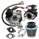 KKmoon Carburateur Adapté pour GY6 50CC 49CC 4 Temps Scooter, Taotao Moteur 18mm Carb Admission Collecteur Filtre à Air