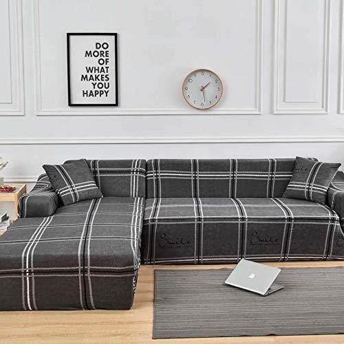 WXQY Funda de sofá elástica para Sala de Estar, Funda de sofá con patrón de Sarga Antideslizante, se Puede Utilizar para el sofá Chaise Longue en Forma de L A16 de 4 plazas